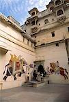 Courtyard, Udaipur, Rajasthan, Inde.
