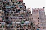 Coloré temple hindou, Temple de Srirangam, Tamil Nadu, Inde