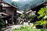 Rues de vieilles maisons en bois, honjin, Japon