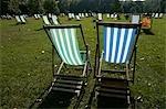 Deckchairs in Green Park,London,England,UK