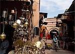 Brass lanterns in souk in the medina,Marrakesh,Morocco.