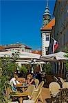 Young people enjoying the outdoor cafe,Ljubljana,Slovenia