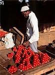 Man in market with tomatoes,Stone Town,Zanzibar Island. Tanzania
