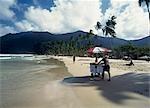 Ice cream seller on beach,Maracas Boy,Trinidad