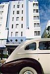 Old White car,art deco building,Miami,Florida,USA