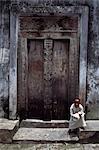 Heavy wooden traditional doors,Zanzibar Island,Tanzania