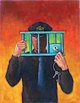 Illustration d'un policier deverouillage une cellule de prison