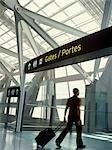 Man Entering Departure Gates, Pearson International Airport, Toronto, Ontario, Canada