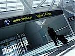 Man Entering International Departure Gates, Pearson International Airport, Toronto, Canada