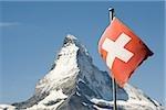 Swiss flag and matterhorn