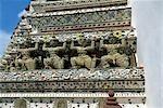 Détail de la décoration en céramique, Wat Arun (Temple de l'aube), Babgkok
