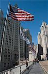 Wrigley Building sur la gauche, la Tribune Tower sur la droite, Chicago, Illinois, États-Unis d'Amérique, l'Amérique du Nord
