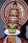 Kathakali dancer in costume, Kerala state, India, Asia