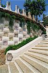 Gaudi-Architektur, Stufen und Mauern, Gaudi Park Güell, Barcelona, Katalonien (Cataluna) (Katalonien), Spanien, Europa