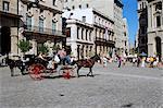 Scène de rue avec la calèche, la Havane, Cuba, Antilles, l'Amérique centrale