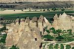 Volcanic tuff pillars and erosion, Pasabagi, Goreme, Cappadocia, Anatolia, Turkey, Asia Minor, Asia
