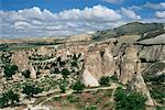 Erosion with volcanic tuff pillars near Goreme, Cappadocia, Anatolia, Turkey, Asia Minor, Asia