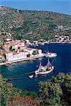 Fishing boat and harbour, Agia Kyriaki, Pelion, Greece, Europe