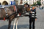 Calèche à la place du marché (Rynek Glowny), vieille ville (Stare Miasto), Krakow (Cracovie), Pologne, Europe