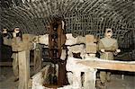 Scenes of working life in the Wieliczka Salt Mine, UNESCO World Heritage Site, near Krakow (Cracow), Poland