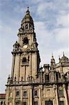 Vue sur la cathédrale de Santiago de Plaza da Quintana, patrimoine mondial UNESCO, Saint Jacques de Compostelle, Galice, Espagne, Europe