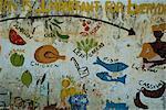 Peinture murale à l'école du village près de Banjul, en Gambie, Afrique de l'Ouest, Afrique
