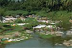 Washing drying, Kerala state, India, Asia