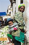 Baby on mother's back, Municipal Market at Assomada, Santiago, Cape Verde Islands, Africa