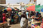 Le marché africain dans la vieille ville de Praia, Plateau, Praia, Santiago, Cap-vert, Afrique