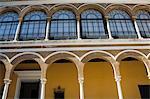 Détail de la construction au Patio de la Monteria, Real Alcazar, patrimoine mondial de l'UNESCO, le quartier de Santa Cruz, Séville, Andalousie (Andalucia), Espagne, Europe