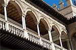 Patio de las Doncellas (Patio des jeunes filles), Real Alcazar, patrimoine mondial UNESCO, Santa Cruz district, Séville, Andalousie (Andalucia), Espagne