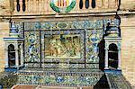 Plaza de Espana carrelée sièges représentant les diverses régions d'Espagne historique, construit pour le 1929 Exposition, Parque de Maria Luisa, Séville, Andalousie, Espagne, Europe