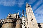 Cathédrale de Séville et La Giralda, patrimoine mondial UNESCO, Plaza Virgen de los Reyes, quartier de Santa Cruz, Séville, Andalousie, Espagne, Europe