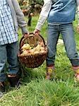 Fille et garçon tenant panier pomme