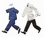 Un médecin et une infirmière costume en cours d'exécution