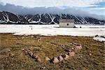 Inuit Ausgrabungsstätte und verlassenen RCMP Post und Post Office Building, Craig Harbour, Ellesmere-Insel, Nunavut, Kanada