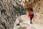 Man Hiking on Path, Congost de Mont-Rebei, Montsec, Catalunya, Spain