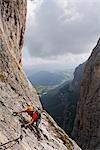 Man Climbing Brigata Tridentina Via Ferrata, Sella Massif, Dolomites, Italy