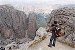 Man Looking at View, Brigata Tridentina Via Ferrata, Sella Massif, Dolomites, Italy