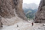 People Climbing Brigata Tridentina Via Ferrata, Sella Massif, Dolomites, Italy