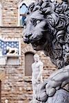 Statue von Lion, Piazza della Signoria, Florenz, Toskana, Italien