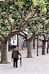 Man Walking on Street in Burgos, Burgos Province, Spain