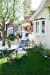 Girls Playing in the Backyard