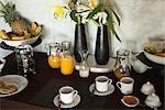 Table Set For Breakfast, Tulum, Mayan Riviera, Quintana Roo, Yucatan Peninsula, Mexico