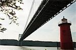 Jeffrey's Hook Lighthouse and George Washington Bridge, New York City, New York, USA
