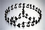 Zinnsoldaten in Form eines Peace-Zeichens