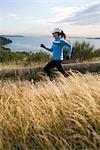 Woman Running near Puget Sound, Seattle, Washington, USA