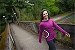 Woman on Bridge in Arboretum, Seattle, Washington, USA