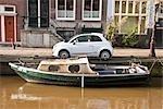 Voiture et bateau, Amsterdam, Pays-Bas