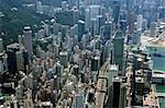 Aerial view overlooking Wanchai,Hong Kong